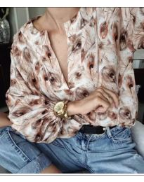 Свободна дамска риза с десен на пера - код 714