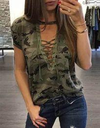 Дамска тениска в масленозелен камуфлаж - код 4407