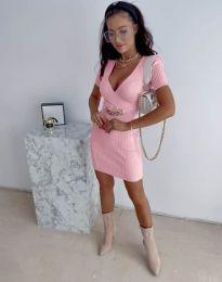 Стилна рокля по тялото в розово - код 4305