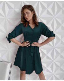 Изчистена рокля в маслено зелено - код 9028