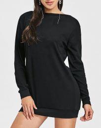 Дамска туника в черно с ефектен гръб - код 0845