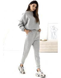 Спортен дамски комплект блуза с дълъг ръкав и долнище с висока талия в сиво - код 1496