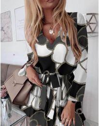 Феерична рокля в черно с бял мотив - код 566