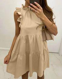 Феерична рокля в бежово - код 2663