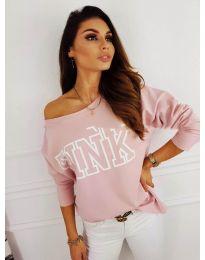 Блуза с принт в розово - код 5464