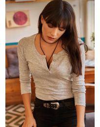 Блуза с копчета в сиво  - код 11495