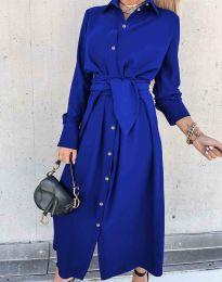 Стилна дамска рокля в синьо - код 1860