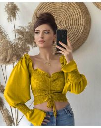Блуза с ефектни ръкави в цвят горчица - код 896