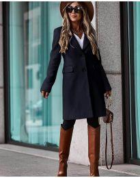 Дълго дамско палто в черно - код 4554