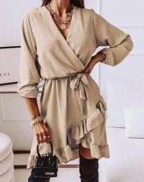 Стилна дамска рокля в бежово - код 5371