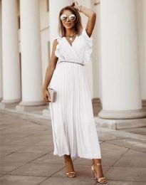 Елегантна дамска рокля с колан в бяло - код 3320