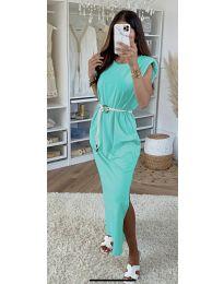 Дълга дамска рокля в цвят мента - код 7049