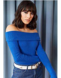 Изчистена дамска блуза в синьо - код 11500