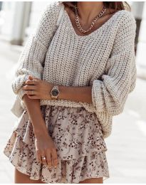 Дамски пуловер в бежово- код 6066