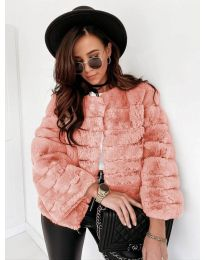 Дамско късо палто в цвят пудра - код 7676
