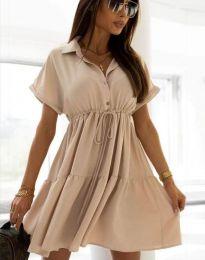 Разкроена дамска рокля в бежово - код 6292