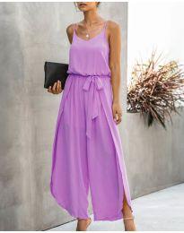Свободен дамски гащеризон в лилав цвят - код 565