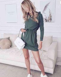 Дамска спортна рокля в масленозелено - код 7846