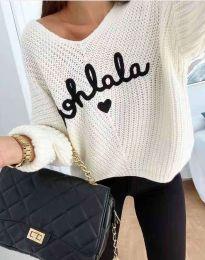 Дамски пуловер с надпис в бяло - код 1834