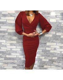 Елегантна рокля в бордо - код 8706