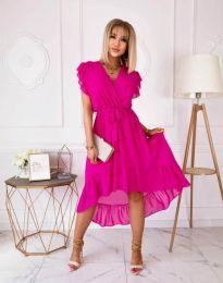 Елегантна дамска рокля в цвят циклама - код 8934