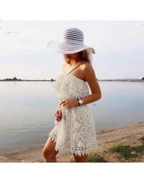 Ефирна рокля в бяло - код 4849