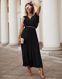 Елегантна дамска рокля с колан в черно - код 3320