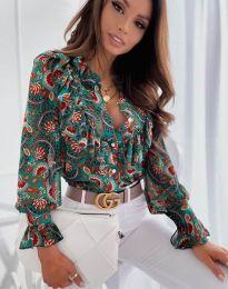 Дамска риза в цвят мента с флорален десен - код 1417