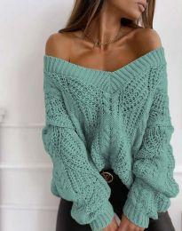 Дамски пуловер в цвят мента - код 1637