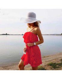 Ефирна рокля в червено - код 4849