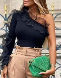 Ефектна дамска блуза  в черно - код 5680