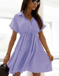 Разкроена дамска рокля в светлолилаво - код 6292