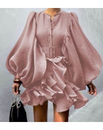Кокетна рокля в цвят пудра - код 2819