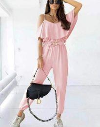 Ефектен дамски гащеризон с колан в розово - код 7785