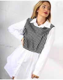 Дамска риза в бяло - код 9990 - 2