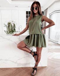 Атрактивна дамска рокля в масленозелено - код 6612