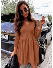 Дамска рокля в кафяво - код 0060