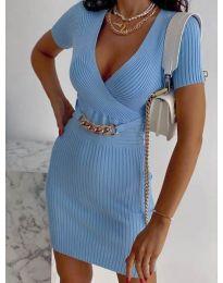 Стилна рокля по тялото в светлосиньо - код 4305