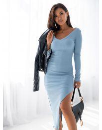 Дамска рокля в светлосиньо с цепка - код 12070
