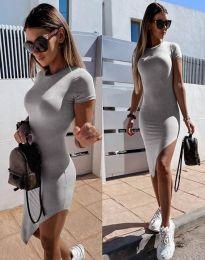 Стилна дамска рокля в сиво - код 8391