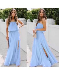 Дълга рокля с цепка  в цвят синьо - код 061