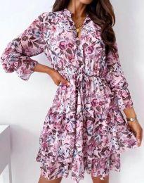 Дамска рокля с флорален десен - код 2550 - 1