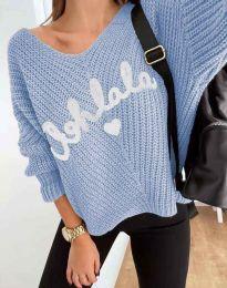 Дамски пуловер с надпис в синьо - код 1834