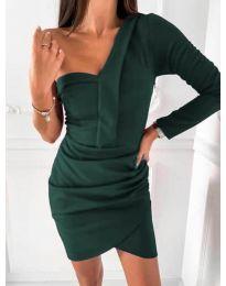 Елегантна рокля в маслено зелено - код 2079