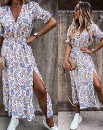 Дълга рокля с флорален десен - код 6213 - 2