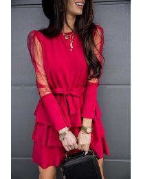 Елегантна рокля в червено - код 8384