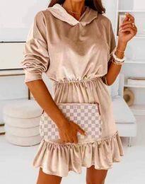 Атрактивна дамска рокля в бежово - код 0424