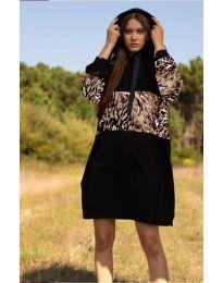 Свободна дамска рокля в черно - код 4546 - 5
