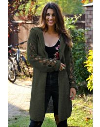 Дълга дамска жилетка в маслено зелено - код 9596