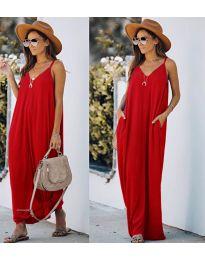 Свободна дълга рокля в червено - код 0209